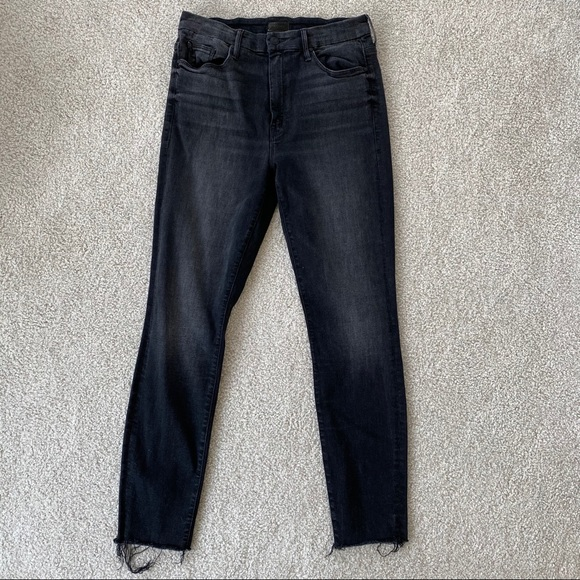 Night Hawk $228 Washed Black NWT Mother Denim High Waisted Looker Ankle Fray